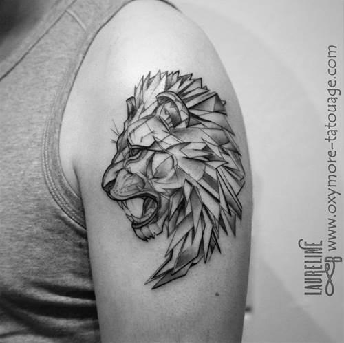tatouage graphique lion. Black Bedroom Furniture Sets. Home Design Ideas