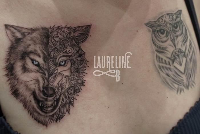 Tatouages gravure mandalas arabesques - Tatouage loup mandala ...